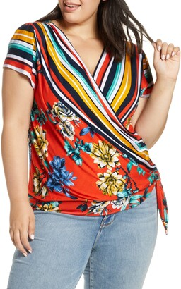 Loveappella Pattern Mix Wrap Front Top