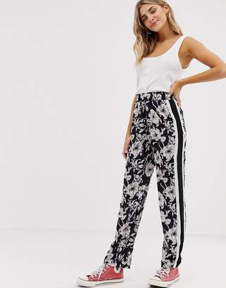 Brave Soul monochrome floral trousers with side stripe