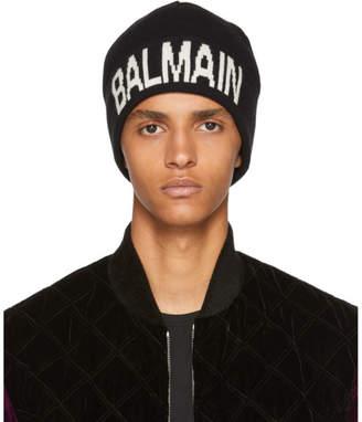 Balmain Black Logo Beanie