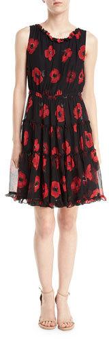 Kate Spade New York Poppy Chiffon Sleeveless Ruffle-Trim Dress