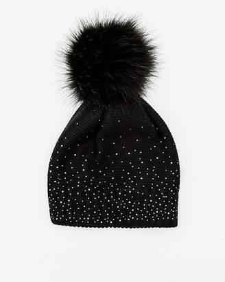 Le Château Gem Embellished Knit Pom-Pom Hat