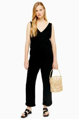 Topshop Womens Slouchy Button Jumpsuit - Washed Black
