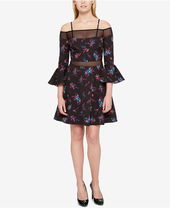 Guess Off-The-Shoulder Fit & Flare Dress, A Macy's Exclusive Style