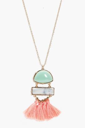 boohoo Heather Stone & Tassel Necklace