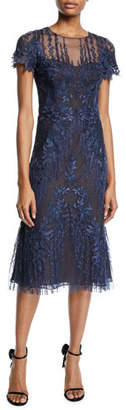 David Meister Short-Sleeve Mesh & Embroidered Dress
