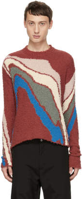 Kiko Kostadinov Red Delva Body Intarsia Knit Sweater