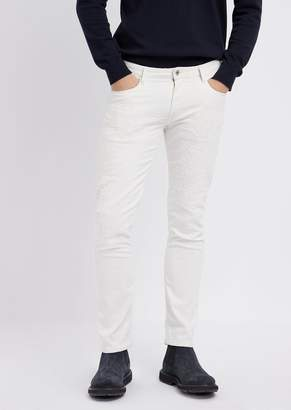 Emporio Armani Slim-Fit Jeans In Stretch Cotton Denim With Distressed Effect