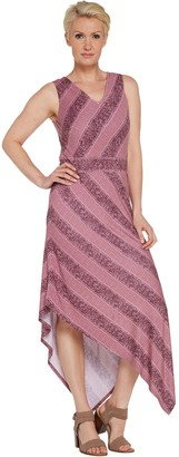 Denim & Co. Studio by Stripe V-Neck Sleeveless Dress