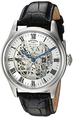 Rotary ' Greenwich' Automatic Stainless Steel and Leather Casual Watch