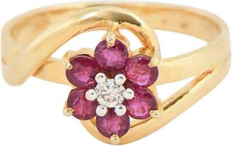 One Kings Lane Vintage Ruby & Diamond Flower Ring - Owl's Roost Antiques