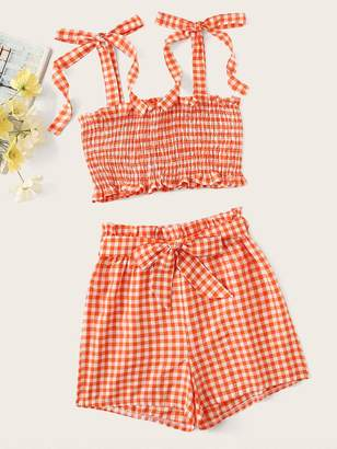 Shein Gingham Shirred Cami Top With Belted Shorts