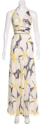 Carmen Marc Valvo Silk Halter Dress