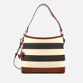 At Thehut Radley Women S Babington Stripe Medium Zip Top Shoulder Bag