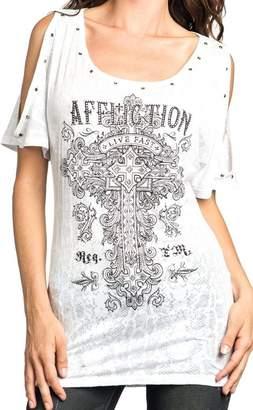 Affliction Women's Olive 50/50 Cold Shoulder Top T-Shirt SM