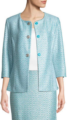St. John Glitter Sequin Knit 3/4-Sleeve Jacket