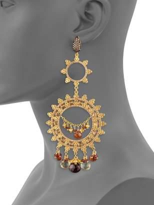 Azaara Goldtone & Garnet Chandelier Earrings