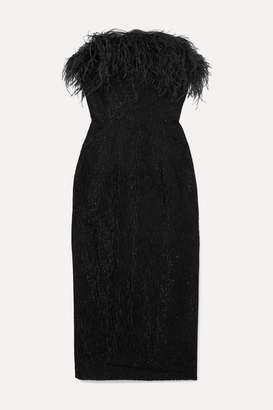 16Arlington Minelli Strapless Feather-trimmed Metallic Bouclé Midi Dress - Black