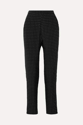 Fleur Du Mal Stud-embellished Silk-crepe Slim-leg Pants - Black
