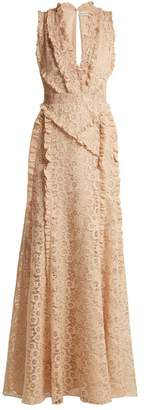 Altuzarra Medina Valencienne Lace Ruffle Trimmed Dress - Womens - Beige