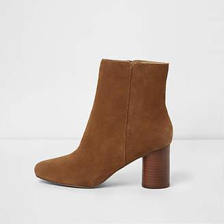 River Island Tan brown block heel suede boots