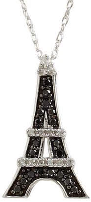 Black Diamond FINE JEWELLERY 10K White Gold White And 0.21ct Eiffel Tower Pendant