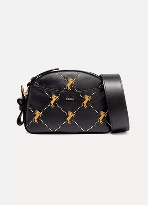 Chloé Studded Embroidered Leather Shoulder Bag - Navy