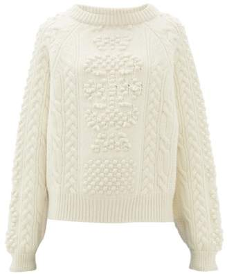 Barrie Cable Knit Cashmere And Lambswool Sweater - Womens - Ivory