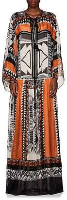 Alberta Ferretti Women's Geometric-Print Silk Tieneck Long Dress