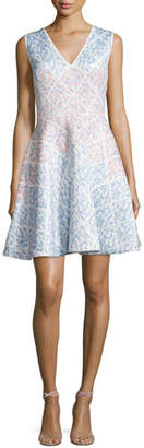 Erin Fetherston Sleeveless Ombre Fit-&-Flare Dress, Ivory/Multi