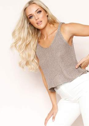 Missy Empire Janessa Taupe Knit Glitter Vest Top