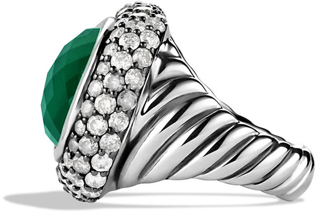 David Yurman Waverly Limited-Edition Ring with Green Onyx and Gray Diamonds