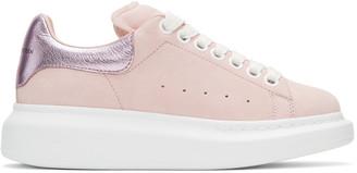 Alexander McQueen Pink Suede Oversized Sneakers $575 thestylecure.com