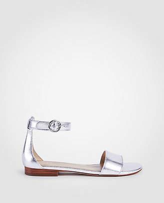 Ann Taylor Aislyn Metallic Leather Flat Sandals