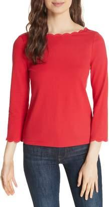 Kate Spade scallop neck knit top