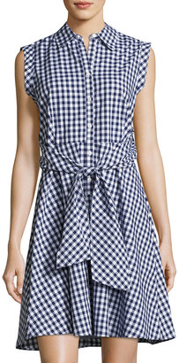 Neiman Marcus Collared Tie-Waist Gingham Dress $69 thestylecure.com