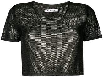 Fisico mesh knit cropped top