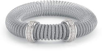 Alor Micro-Cable Pave Diamond Spring Coil Bracelet Gray 0.33tcw