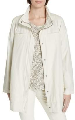 Eileen Fisher Hooded Organic Cotton Blend Coat