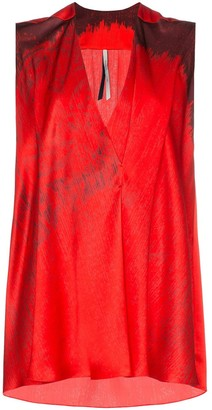 Poiret Sleeveless printed V-neck silk blouse