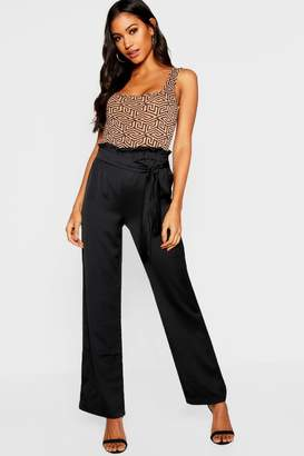 boohoo Satin Wide Leg High Waist Trouser