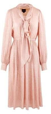 Marc Jacobs Silk Metallic Draped Midi Dress