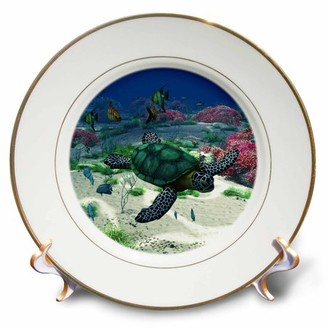 3dRose Sea turtle swims through the ocean with tropic fishes corals and more - Porcelain Plate, 8-inch
