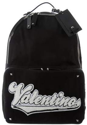 Valentino Woven Embroidered Backpack