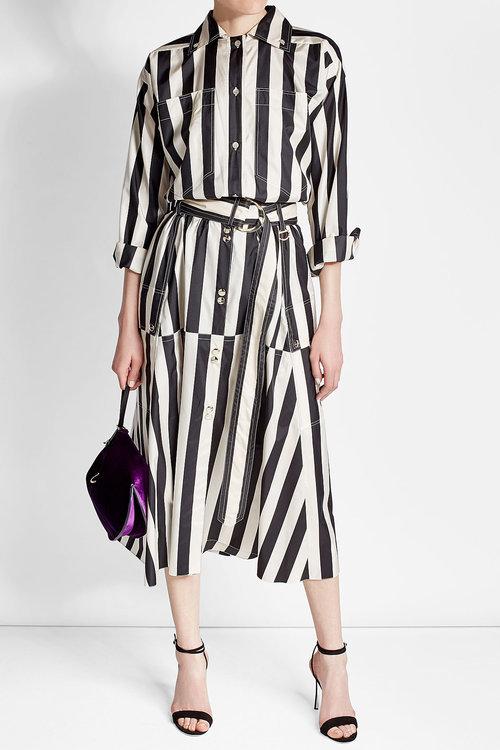 Nina RicciNina Ricci Striped Silk Midi Skirt