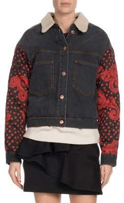 Etoile Isabel Marant Chrissa Jean Jacket w/ Quilted Sleeves