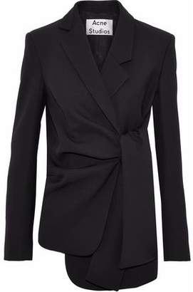Acne Studios Tie-Front Asymmetric Wool-Crepe Blazer