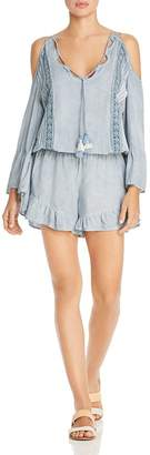 Surf.Gypsy Washed Denim & Crochet Lace Pleated Romper Swim Cover-Up