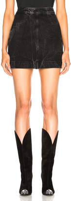 Givenchy Zip Front Marble Wash Denim Skirt