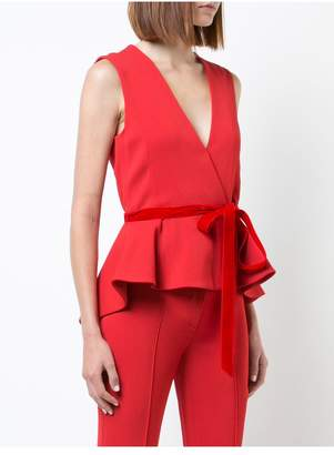 ADAM by Adam Lippes Stretch Crepe Sleeveless Wrap Peplum Top