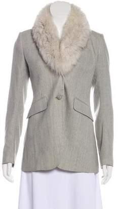 Theory Fox Fur-Trimmed Wool Blazer